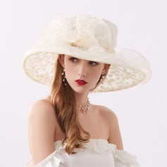 Ladies' Glamourous/Eye-catching Organza With Rhinestone Beach/Sun Hats/Kentucky Derby Hats/Tea Party Hats