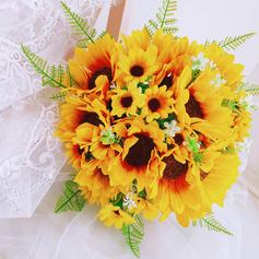 Unique Sunflower Hand-tied Satin/Lace/Linen Rope/Artificial Flower Bridal Bouquets/Bridesmaid Bouquets (Sold in a single piece) - Bridal Bouquets/Bridesmaid Bouquets