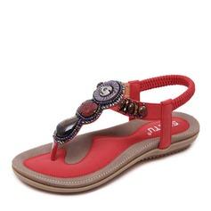 Kvinner Lær Flat Hæl Sandaler Flate sko Flip-Flopper med Rhinestone Profilering sko
