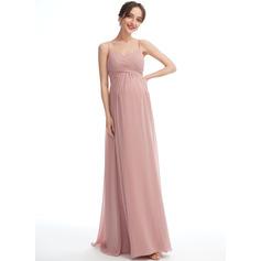 A-line kjole V-hals Gulvlengde Chiffong Brudepikekjole for Gravide (045251915)