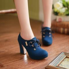 Women's Suede Chunky Heel Pumps Platform Closed Toe shoes
