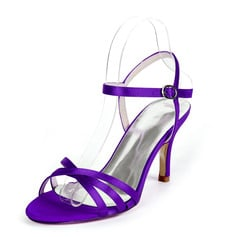 Women's Silk Like Satin Stiletto Heel Peep Toe Sandals Slingbacks With Buckle