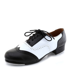 Women's Microfiber Leather Heels Tap With Lace-up Dance Shoes
