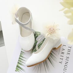 Girl's Closed Toe Leatherette Flower Girl Shoes With Flower