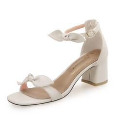 Kvinner PU Stor Hæl Sandaler med Bowknot Spenne sko