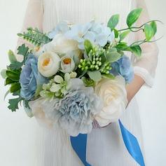Klassisk stil Hånd Bundet Blonder/Rhinestone/Kunstige Blomster Brude Buketter (som selges i et enkelt stykke) - Brude Buketter
