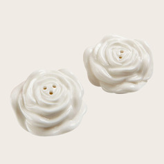 Flower Design Ceramic Salt & Pepper Shakers