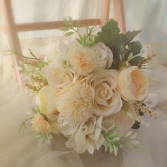 Klassisk stil Hånd Bundet Satin/Blonder/Rhinestone/Silke blomst/Kunstige Blomster Brude Buketter/Brudepike Buketter (som selges i et enkelt stykke) - Brude Buketter/Brudepike Buketter