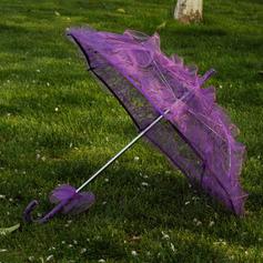 Plast/Blonder Bryllup Paraplye med Blonder