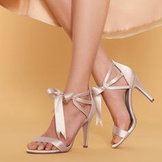 Kvinner silke som sateng Stiletto Hæl Titte Tå Pumps Sandaler med Bowknot Båndknute Blondér
