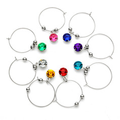 Lovely Round Stainless Steel Wine Glass Charm Rings