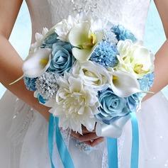 Elegant Round Satin/PE/Rhinestone/Silk linen Bridal Bouquets/Bridesmaid Bouquets