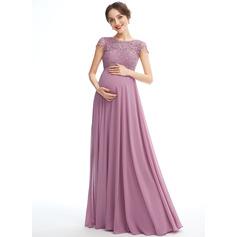 A-line kjole Scoop Hals Gulvlengde Chiffong Blonder Brudepikekjole for Gravide med Lommer (045251918)