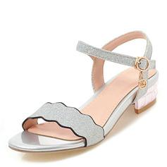 Kvinner Glitrende Glitter Lav Hæl Sandaler Titte Tå med Spenne sko