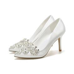Women's Silk Like Satin Stiletto Heel With Applique