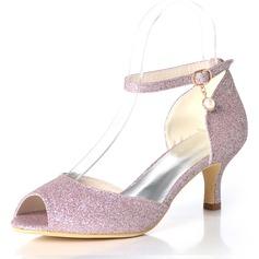 Women's Sparkling Glitter Stiletto Heel Peep Toe Pumps With Buckle