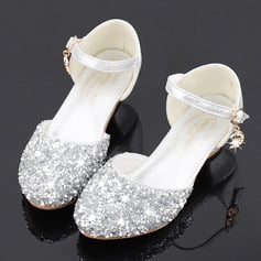 Girl's Round Toe Sparkling Glitter Flower Girl Shoes With Crystal (207224862)