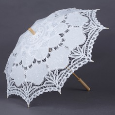 Classic/Simple Bride And Groom Wooden/Cotton Wedding Umbrellas With Lace (051251063)