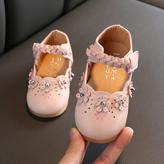 Girl's Round Toe Closed Toe Leatherette Flat Heel Flats With Velcro Flower