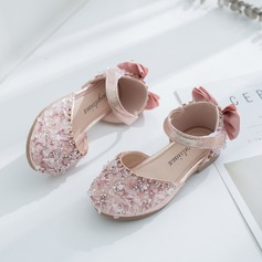 Jentas Round Toe Lukket Tå Leather flat Heel Flate sko Flower Girl Shoes med Bowknot Velcro Crystal (207207320)