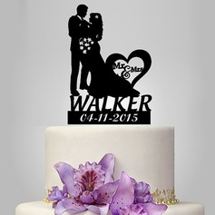 "Personalized Bride And Groom/""Mr. & Mrs.""/Happy Couple Acrylic Cake Topper"