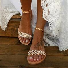 Kvinner Lær Flat Hæl Flate sko Titte Tå Sandaler med Crystal