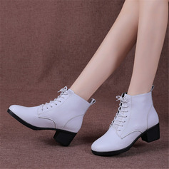 Women's Real Leather Heels Boots Modern Jazz Character Shoes Dance Boots With Lace-up Dance Shoes