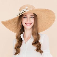 Damene ' Mote Rotting Strå med Silke blomst Diskett Hatt/Strand / Sol Hatter/Kentucky Derby Hatter