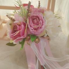 Klassisk stil Hånd Bundet Satin/Bånd/Simulerings Bær/Rhinestone/Silke blomst/Kunstige Blomster Brude Buketter/Brudepike Buketter (som selges i et enkelt stykke) - Brude Buketter/Brudepike Buketter