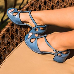 Women's Leatherette PU Chunky Heel Pumps Closed Toe With Buckle Hollow-out shoes