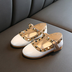 Girl's Round Toe Closed Toe Leatherette Flat Heel Flats Flower Girl Shoes With Velcro