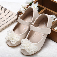 Jentas Lukket Tå Leather flat Heel Flower Girl Shoes med Bowknot Rhinestone