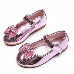 Jentas Lukket Tå Leather flat Heel Flate sko Flower Girl Shoes med Bowknot