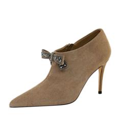 Women's Suede Stiletto Heel Pumps With Bowknot Zipper shoes