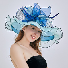 Ladies' Glamourous/Eye-catching/Pretty Organza With Flower Floppy Hats/Beach/Sun Hats/Kentucky Derby Hats