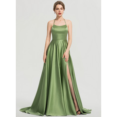 A-Line Scoop Neck Sweep Train Satin Prom Dresses With Split Front (018192351)