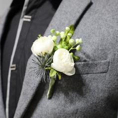 Lavmælt Overlappet Silke blomst Håndledd Corsage/Boutonnie -