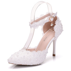 Women's Leatherette Stiletto Heel Closed Toe Pumps Sandals MaryJane With Buckle Rhinestone Applique