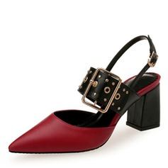 Women's Leatherette Chunky Heel Sandals Closed Toe With Buckle Hollow-out shoes