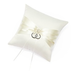 Ring Pillow in Satin With Sash/Rhinestones