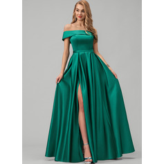 A-Line Off-the-Shoulder Floor-Length Satin Prom Dresses With Split Front Pockets (018220243)