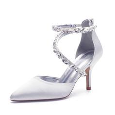 Women's Satin Stiletto Heel Sandals With Rhinestone Zipper