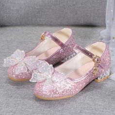 Jentas Lukket Tå Microfiber Lær lav Heel Flower Girl Shoes med Bowknot