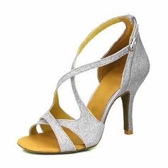 Kvinner Glitrende Glitter Hæle Sandaler Pumps Latin Dansesko