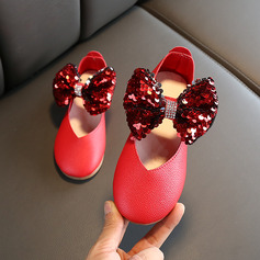 Girl's Round Toe Closed Toe Leatherette Wedge Heel Flats Flower Girl Shoes With Bowknot Velcro