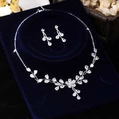 Ladies' Elegant Alloy/Zircon/Silver Plated Cubic Zirconia Bridal Sets Jewelry Sets (011256555)