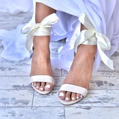 Kvinner Lær Stor Hæl Titte Tå Platform Sandaler med Blondér