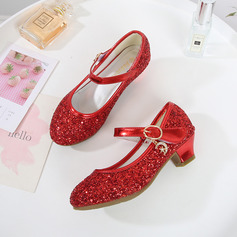 Girl's Closed Toe Leatherette Low Heel Flower Girl Shoes With Sequin