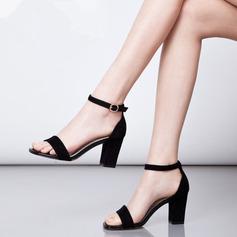 Kvinner Semsket Stor Hæl Sandaler Pumps Titte Tå med Spenne sko