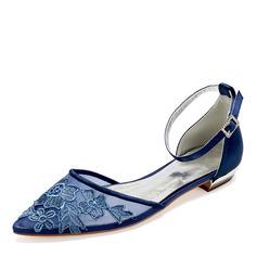 Kvinner Blonder silke som sateng Flat Hæl Flate sko Sandaler med Sateng Sløyfe Blomst